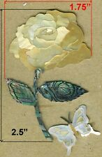 PH120# Rose W Butterfly Inlay Abalone & Gold Mop, White Mother of Pearl