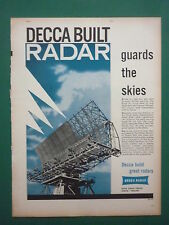 3/1959 PUB DECCA RADAR ROYAL AIR FORCE LONGE RANGE EARLY WARNING ORIGINAL AD