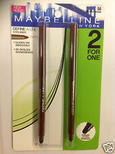 MAYBELLINE DEFINE-A-LINE EYELINER Chestnut Brown #04 DUO PACK ( 2 FOR 1 ) NEW .