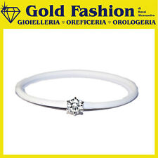 Bracciale in caucciù e argento 1 pietra - Thy Italy coll. Caucciù - bianco