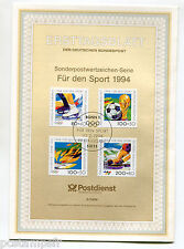 ALLEMAGNE FEDERALE, RFA, 1994, SPORTS, 4 timbres, 1545/1548, DOCUMENT 1° JOUR