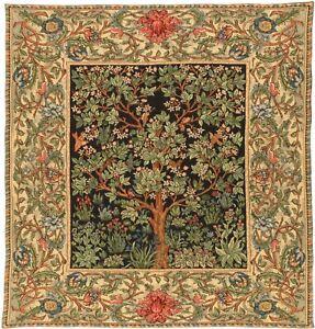 "NEW 60"" TREE OF LIFE ARBRE DE VIE BELGIAN TAPESTRY TABLE THROW BED SPREAD 8000"