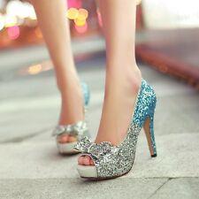 Womens High Heels Platform Peep Toe Party Princess Wedding Shoes Pumps US 8 bLUE