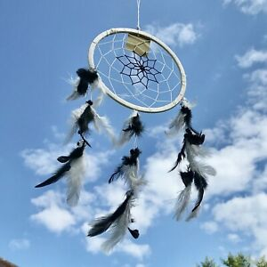 New Black and White Feather Dream Catcher Native American Wall Hanging Mobile