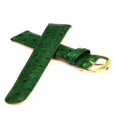 Grünes Kalbsleder-Uhrband - Strauss-Optik - 18 mm Uhrarmband Uhrbänder