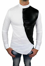 CAMICIA UOMO SLIM FIT BIANCO NERO NEW CON COLLETTO COREANA E BOTTONI TRASVERSALI