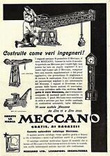 PUBBLICITA' 1928 MECCANO GIOCO GRU E AUTOCARRO LIVERPOOL INGHILTERRA GIOCATTOLO