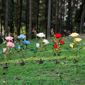 Solar Power 3 Head Rose Flower Garden Outdoor landscape Lamp Yard LED Light