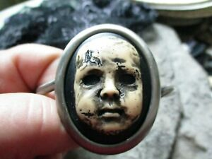 Choose Finish - Creepy Baby Doll Hand Painted Cameo Adjustable Cuff Bracelet, P