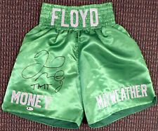 """FLOYD MAYWEATHER JR. AUTOGRAPHED SIGNED GREEN BOXING TRUNKS """"TMT"""" BECKETT 159663"""