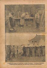 Poilus Invalides de Guerre Atelier de Marbrier/Camp Tent WWI 1916 ILLUSTRATION