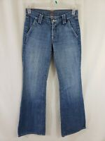 7 for All Mankind Womens Denim Blue Jeans Size 27 x 34 Wide Leg Med Wash Flare