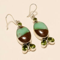 12.80Gm 925 Solid Sterling Silver Natural chrysoprase,Peridot Earring i2525