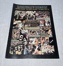 1973 MICHIGAN WOLVERINES VS OREGON DUCKS FOOTBALL PROGRAM ANN ARBOR