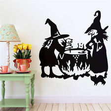 Halloween Witch Background Wall Sticker Window Home Decoration Decal Decor