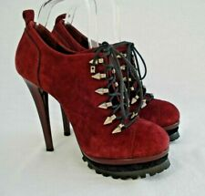 CARVELA Red Suede Lace Up Shoes Boots Very High Heels UK 6 Goth Steampunk Metal