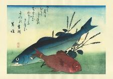 Japanese Reproduction Woodblock-Fishes #80 by Ando Hiroshige on Parchment Paper