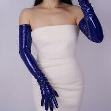 LATEX LONG GLOVES noble blue Shine Faux Patent  Leather  Opera Evening 70cm