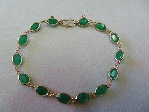 "18k Solid Yellow Gold Jade Link Bracelet 6.5"""