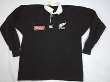 VTG 90s STEINLAGER CANTERBURY of NEW ZEALAND POLO RUGBY ALL BLACKS SHIRT JERSEY