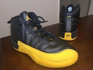 Youth Air Jordan 12 Retro Athletic Shoes 'Black/University Gold' - Size 3Y