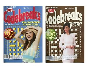 2 x Just Codebreaks Puzzle Books Magazines Puzzles UK Seller Same Day Dispatch