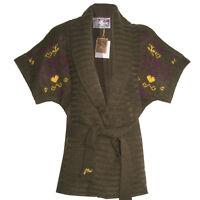 genial 15% Wolle Gr.32/34 XS WARM Strickjacke STRICKMANTEL Jacke Cardigan TAUPE