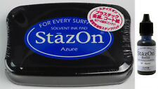 StazOn Solvent Ink Pad & 0.5 oz  Ink Refill *Azure* 369166G