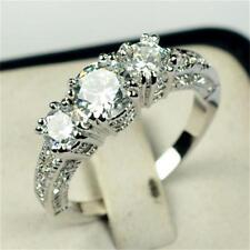 Perfect Gift White Sapphire Women Wedding Band Ring CZ Rhinestone Charms