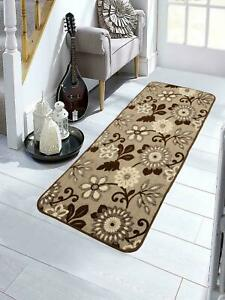 Brown, 1 Pc, Tufted Jacquard Kitchen/Bed Side Runner Of 40 x 120 cms Soft Cotton
