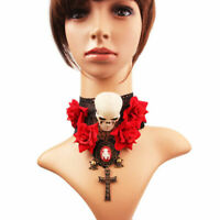 Vintage Gothic Victorian Red Rose Skull Decoration Halloween Party Lace Choker