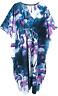 100% Cotton Kaftan Dress Maxi Long Tunic Beach Size 14 16 18 20