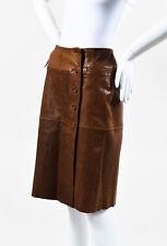 Plein Sud Brown Distressed Leather Wrap Skirt