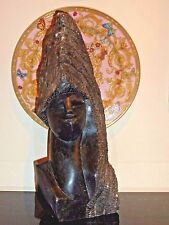 LARGE AND HEAVY CARVED ROCK STATUE ART SCULPTURE 16 1/8