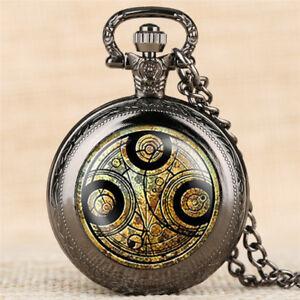 Doctor Who Gallifrey Tardis Quartz Analog Necklace Pocket Watch Long Chain