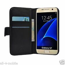 Genuine Leather Black Wallet Flip Case Cover Pouch Saver For Samsung Galaxy S7