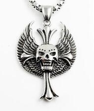Edelstahl Halskette geflügelter Schädel 50 cm Punk Hardcore Metal biker