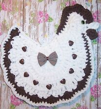 Crocheted Brown ROOSTER / CHICKEN Potholder has Heart Buttons & Bow