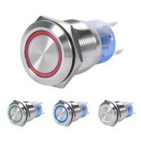 19mm 12V LED Wasserdicht Edelstahl Selbstsichernd Schalter Drucktastenschalter