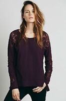 NWT Free People Valencia Off The Shoulder Top Knit Shirt Pullover Red Clay
