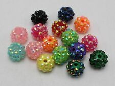 20 Pcs Mixed Colour Acrylic Rhinestone Pave DISCO Ball Beads 12mm Spacer Beads