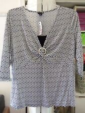 Cute EAST 5th Blouse w/Center Ring/Insert-Leaf Pattern-Size 1X-NEW-$36