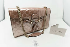 Gucci Emily Chain GG Guccissima Pink matallic leather shoulder bag & wallet