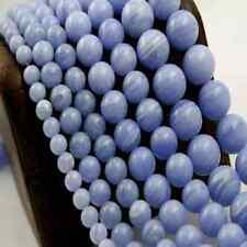 "12mm Round Blue Agate Stone Beads 15"" Inch Strand (1) - B018"
