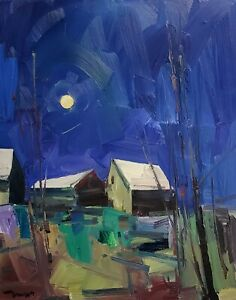 JOSE TRUJILLO Oil Painting IMPRESSIONISM Contemporary LARGE HOUSES LANDSCAPE