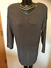 Classiques Entier Sheer Knit Sweater  V Neck  3/4 Sleeves  Gray  Sz S