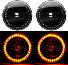 "7"" Black Halogen Headlight Amber LED Halo Angel Eye Headlamp 6K Light Bulb Pair"