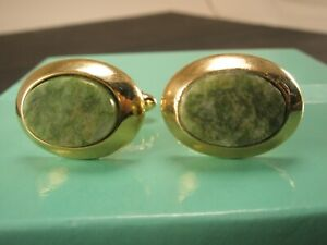 -Jade Green Cabochon & Gold Tone Oval Vintage DANTE Cuff Links