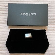 Giorgio Armani Velvet Black Clutch Purse Pouch Handbag Silver Plaque Boxed