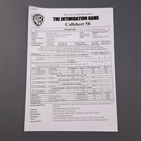 BATMAN BEGINS - Production Used Call Sheet 58